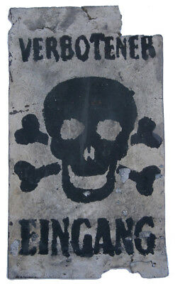 GERMANY Sign PLATE ww2 WWII Skull & Bones PROHIBITED INPUT Iron GERMAN Text VERB