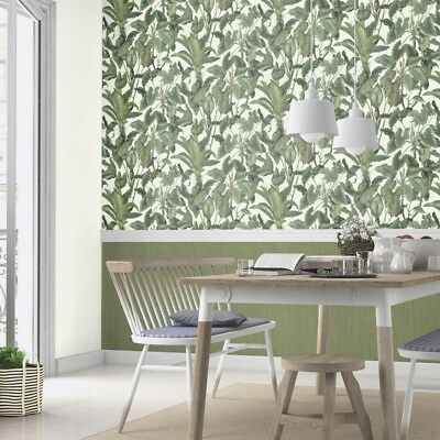 White and Green Tropical Leaves Wallpaper Paste the Wall Jungle Leaf 6303-07