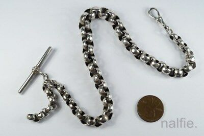 ANTIQUE LATE VICTORIAN ENGLISH SILVER ALBERT WATCH CHAIN c1890