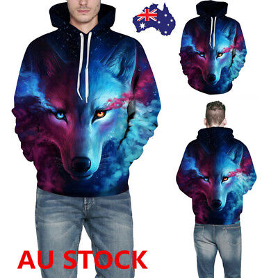 Men Wolf Printed Pullover Hoodie Starry Sky Hooded Jumper Sweatshirt Streetwear