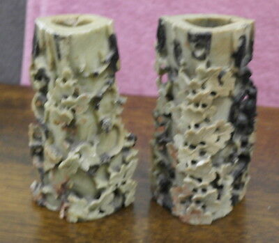 antique vintage chinese carved stone vases
