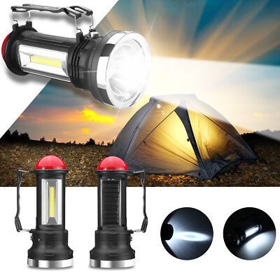 Portable Solar Power COB LED Outdoor Camping Flashlight Emergency Lantern Lamp