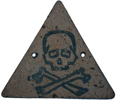 SIGN Skull & Bones PLATE Iron DELTA Stop DANGER Attention ww1 or WW2 wwI WWII