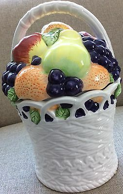 Basket of Fruit Ceramic Cookie Jar with Handle by International INT'L Art *Flaws