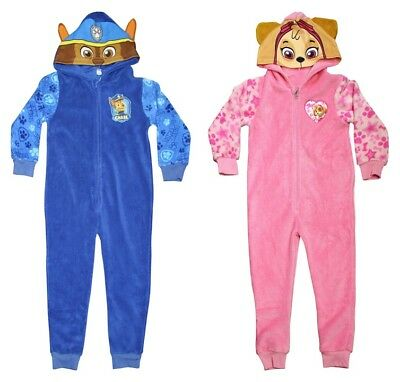 Paw Patrol Childrens Soft Hooded Sleepsuit Pyjamas Chase & Skye Kids Sizes 56871