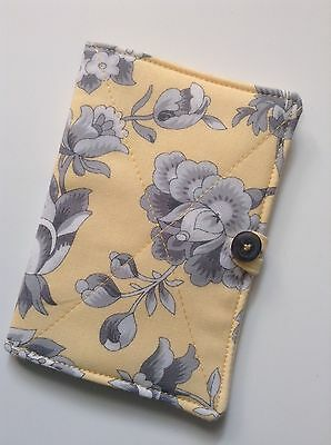 Needlecase. fabric Shabby chic grey/yellow floral. Store needles safely. Gift