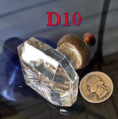 "Antique Dental Cabinet 1&3/4""Square GLASS KNOB w/Brass Base drawer/door pull*D10"
