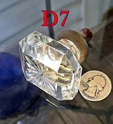 "Antique Dental Cabinet 1&3/4""Square GLASS KNOB w/Brass Base drawer/door pull*D7"