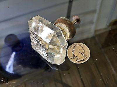 "Antique Dental Cabinet 1&3/4""Square GLASS KNOB w/Brass Base drawer/door pull*D5A"