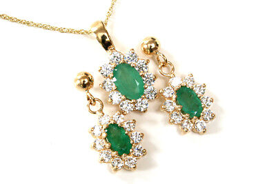 9ct Gold Emerald and Cubic Zirconia Pendant and Earring Set Boxed Made in UK