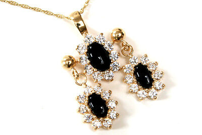 9ct Gold Black Onyx and Cubic Zirconia Pendant and Earring Set Boxed Made in UK