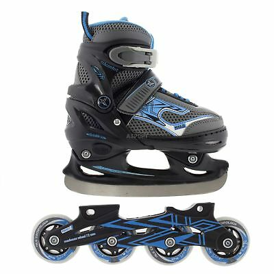 2 IN 1 INLINE SKATES + ICE HOCKEY skates for kids ADJUSTABLE size Nils