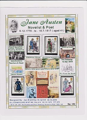 Gb Stamps Mnh Presentation A4 Laminated Card Jane Austen  Free Gifts(152)