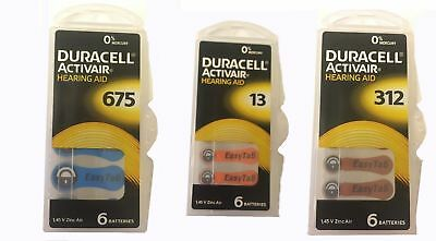 Duracell Hearing Aid Batteries Type 13, 312, 675. 1.45V 30/60 Pcs