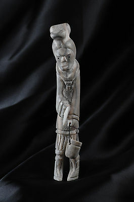 East Greenland Inuit Caribou Antler Carving: Woman with Child