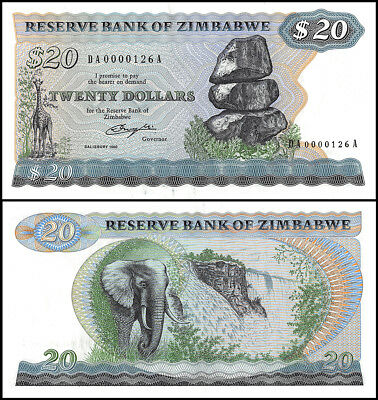 Zimbabwe 20 Dollars, 1980, P-4a, UNC, LOW SERIAL #126A