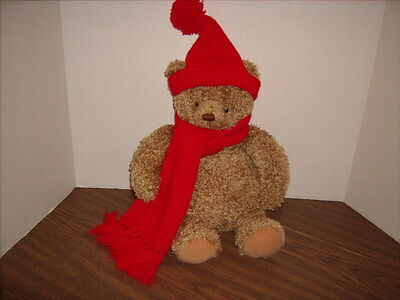 HALLMARK Mary Teddy Bear Light Brown Curly Hair Long Red Scarf  NEW with TAG NWT