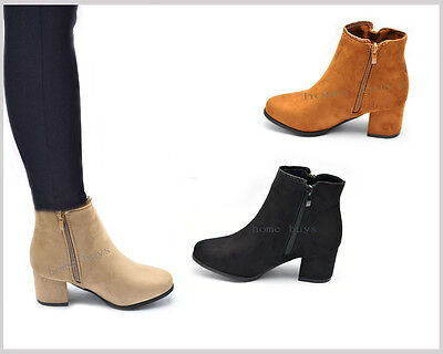 Ladies Womens Suede Ankle Boots Chunky Heel Size Shoes Boots Zip Pull On Chelsea