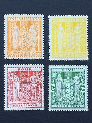 NEW ZEALAND, 1931+ Arms Type, Postal Fiscal, 1/3 , 5/- , Mint and 4/- MNH