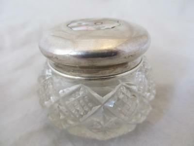 Rare Sterling Silver And Cut Glass Dressing Table Jar Birmingham 1905 MTV02565