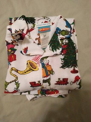 New Pottery Barn Kids Dr. Seuss's The Grinch & Max Flannel Pajama Set 2T