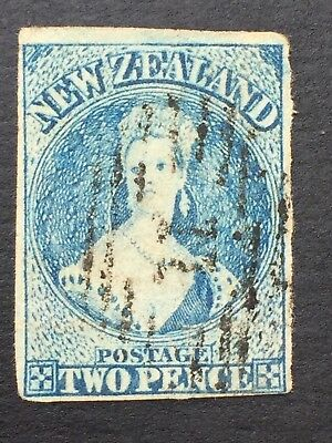 NEW ZEALAND,CHALON, 2d Blue, Large Star Watermark, Imperforate,4 x Margins Used