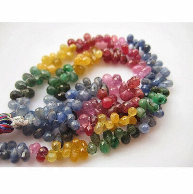 """7.5"""" Half Strand Faceted Multi Gemstones Emerald Beads Sapphire Beads Ruby Beads"""
