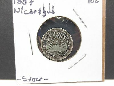 1887 Republic Of Nicaragua 10 Cent .800 Silver Coin Antique Free Shipping