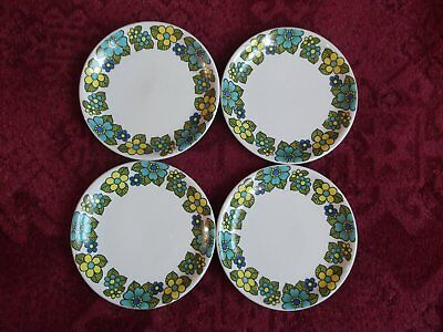 Vintage Blue, Green & Yellow Flower Edged Side Plates by Barrett's 1960s/1970s