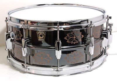 RARE Ludwig LB-417-EN Black Beauty Snare Drum 90s Limited Engraved Model EMS F/S