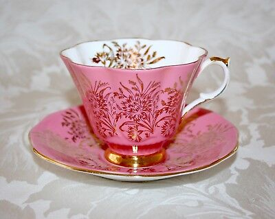 Beautiful Vintage Bone China Queen Anne Pink Gilded Sprays Cup And Saucer