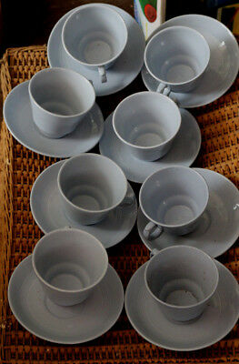 Vintage Woods Ware IRIS Blue Tea Cups and Saucers x 8 Utility Retro