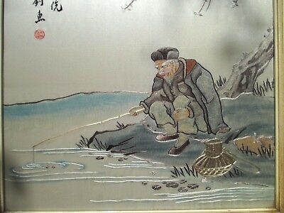 Interesting VINTAGE Chinese SILK EMBROIDERY of a MAN FISHING