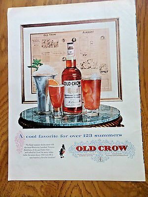 1958 Old Crow Whiskey Ad A Cool Favorite for over 123 Summers