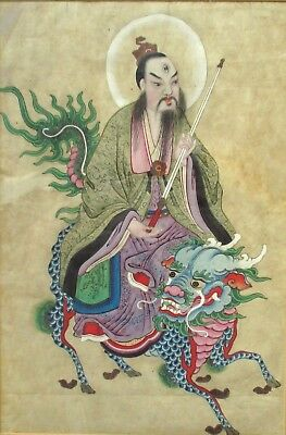 GOOD LARGE Antique or Vintage PAINTING of a SAGE on a MYTHICAL BEAST qilin