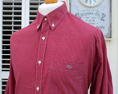 Lacoste Deep Red Check Button-Down Shirt - XL/XXL - Size 44 - Ska Mod Scooter