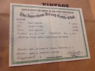 1919 American Jersey Cattle Club Registration Certificate Cow June Sparrow