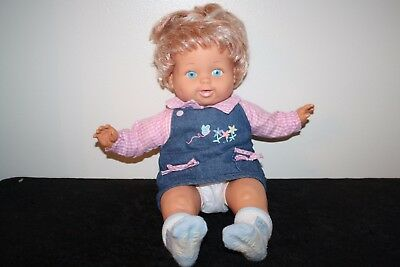"""Vintage 1989? Ideal Tiny Tears Blue eyed Baby Doll 16"""" Strawberry Blonde Hair"""