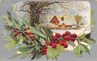 New Year~Country Farm House~Bare Branch Tree~Holly Berry~Silver Back~Emboss~AMP