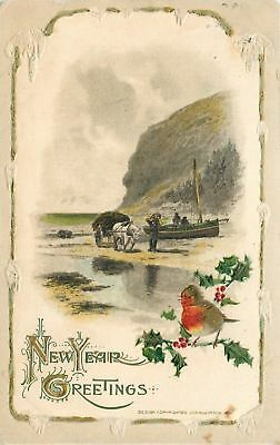 New Year~Fat Robin on Holly Berry Branch~Horse Farm Wagon~Boat~Embos~John Winsch
