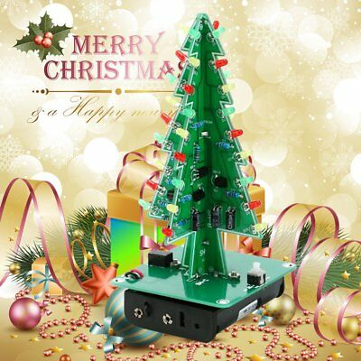 DIY 3D Christmas Tree LED Kit Red Green Yellow LED Flash Circuit Parts Lot #L