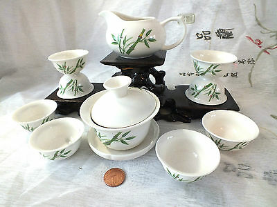 Chinese Green Bamboo S White Teapot 8 Cup Green Tea Set New Year Xmas Party Box