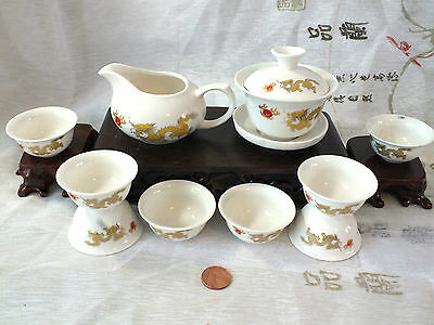 Chinese Lucky Dragon S White Teapot 8 Cup Gungfu Tea Set New Year Wedding Party
