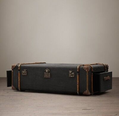 Richards' Trunk Coffee Table - Charcoal Canvas Steamer Trunk-Must Sell By Friday