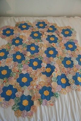 Lot of vintage 1930's feedsack Flower Garden quilt blocks pieces Squares fabric