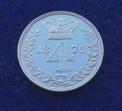 1876 Queen Victoria Silver Maundy Groat 4D Fourpence Coin. (Very High Grade).