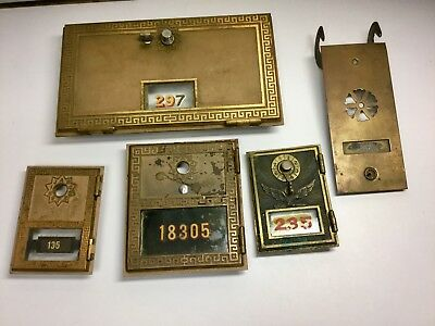Vintage Brass Post Office Mail Box Covers lot of 5