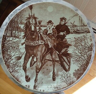 Large Gouda Zenith Glazed Pottery Hanging Plate - Holland Horse Sleigh