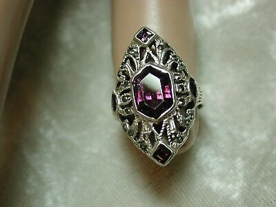 Vintage Sterling Silver Ring Purple Stones & Marcasites SZ 4.75 to 5  n32p32
