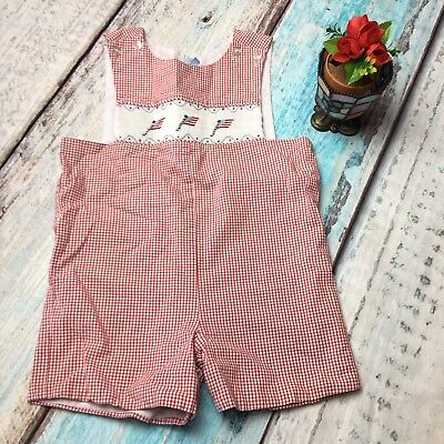 Little English SIZE 3 Toddler Red White Gingham USA Flag Romper Shorts